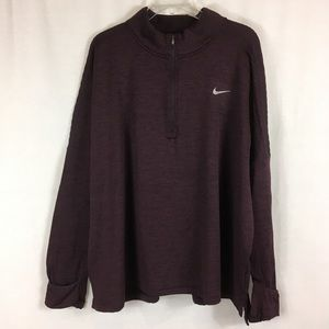 Nike Dri Fit Half-Zip Burgundy Running Jacket 3X